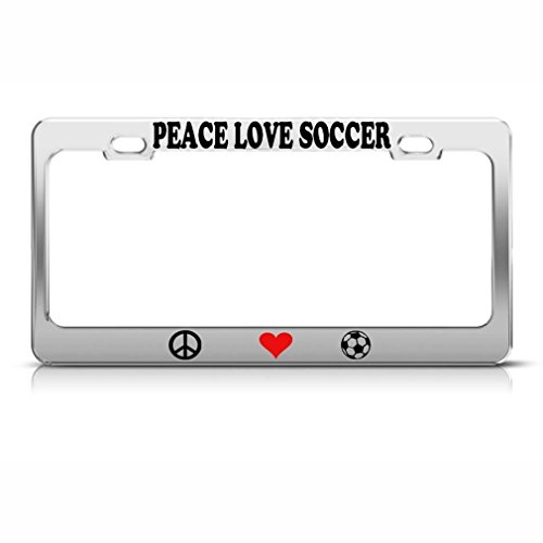 Chawuux Peace Love Soccer Metal Heavy Duty Chrome License Plate Frame Tag Holder by Chawuux