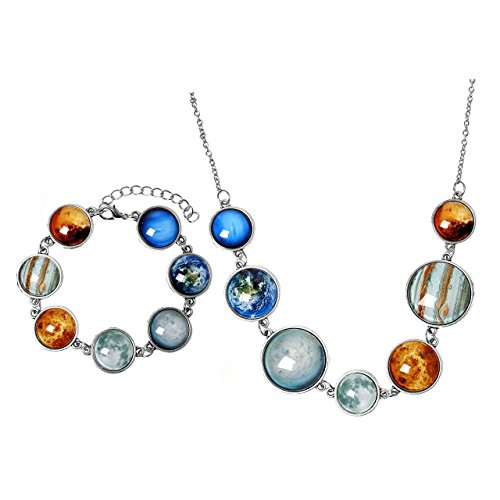 Top Plaza 7 Planets Sun Moon Galaxy Space Necklace Bracelet Dangle Single-Sided Planets Solar System Charm Necklace Bracelet For Women Mother Girlfriend Wife