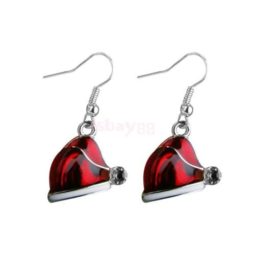 Diansts(TM) 1 Pair Christmas Jewelry Red Hat Crystal Decor Hook Earrings Xmas Party Gift ()