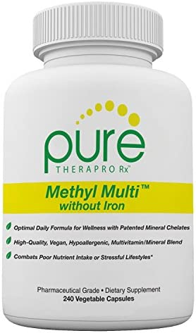 Methyl Multi Without Iron – 240 Vegetable Capsules This Vegan Formula Features Activated Vitamin Cofactors and Folate as Quatrefolic 5-MTHF Patented Albion TRAACS Chelated Mineral Complexes
