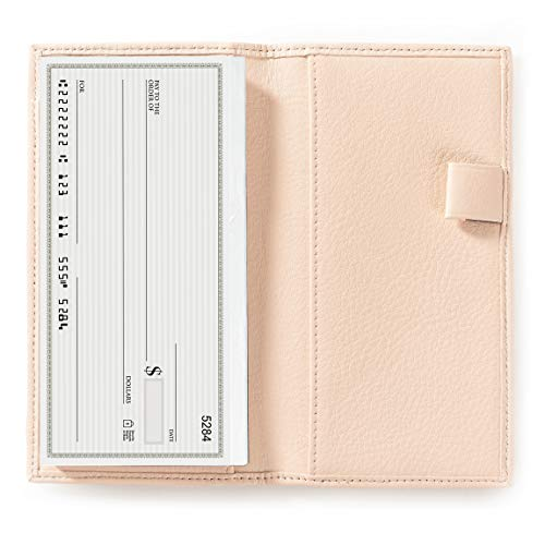 - Deluxe Checkbook Cover with Divider - Full Grain Leather Leather - Rose (pink)