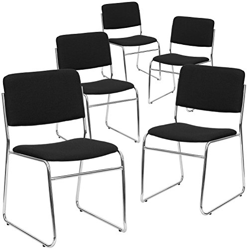 Flash Furniture 5 Pk. HERCULES Series 1000 lb. Capacity Black Fabric High Density Stacking Chair with Chrome Sled Base ()