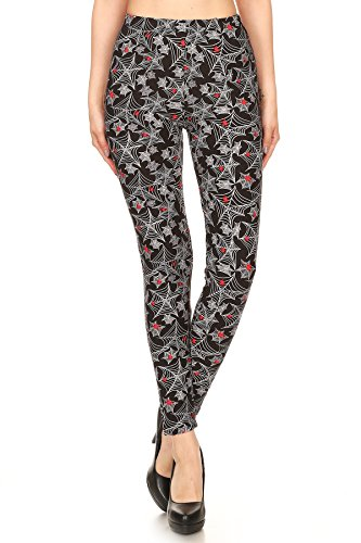 Women's PLUS Spider Web Pattern Printed Leggings for Halloween