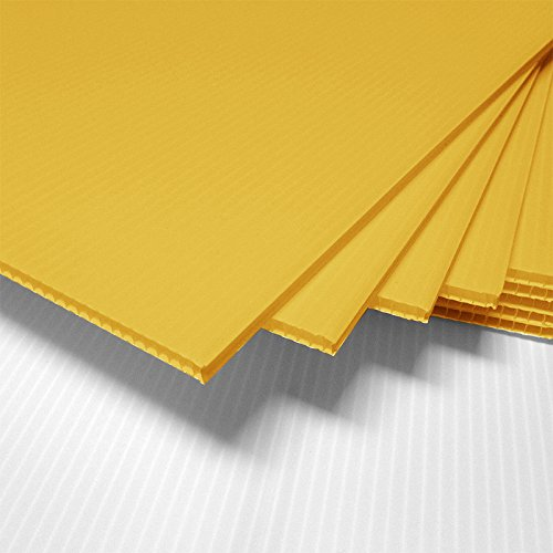 Fantastic Displays 18 x 24 Blank Corrugated Plastic Sheets Coroplast - Yellow 25-Sheet Bundle