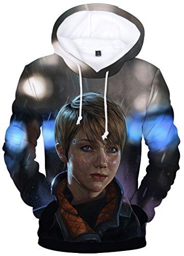 Pandolah Unisex Hoodie 3D Printed Detroit Become Human Cool Games Sweatshirt