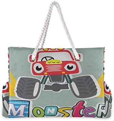 Beach Tote Cartoon Monster Truck Beach Bag For Teens Teen Beach Tote 20.5 X 7.3 X 15 Inch Zipper Closure With Cotton Handle For Picnics Travel Vacations