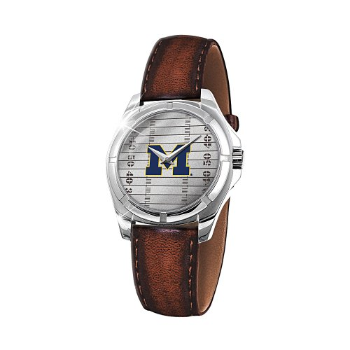 Michigan Wolverines Go Blue Leather Band Men's Watch ()