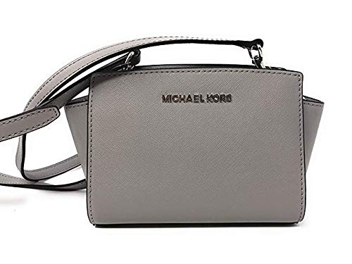 09c3bab1f7 Amazon.com  Michael Kors Selma Mini Saffiano Leather Crossbody Bag in Ash  Grey  Clothing