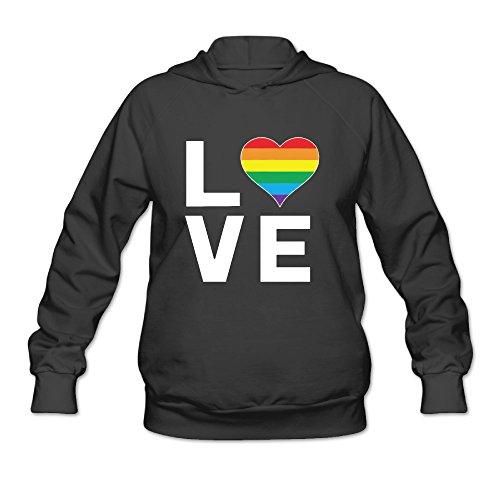 Sarona Design - LGBT Love Rainbow Heart Gay Lesbian Women's Hooded Sweatshirt