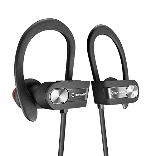 Bluetooth Headphones, New Trent Bluetooth 4.1 Sport HD Stereo Headset In-ear Earbuds Earphones with Flexible Ear Hooks (Black + Silver)