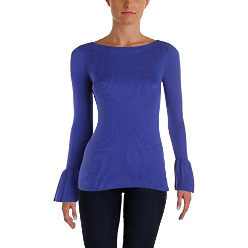 Lauren Ralph Lauren Womens Zakaria Bell Sleeves Boatneck Pullover Sweater Blue M
