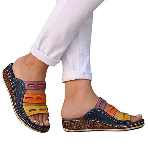 Meigeanfang Slippers Summer Sandals for Women Fashion Mixed Color Slip On Wedges Sandals(Blue,38)