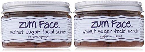 Indigo Wild Zum Face Walnut Sugar Facial Scrub, Rosemary-Mint, 5 Ounce 2 Pack (2)