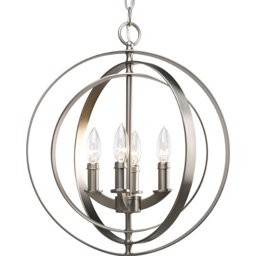 Progress Lighting P3827-126 4-Light Sphere Foyer Lantern with Pivoting Interlocking Rings, Burnished - Chandelier Lantern Light