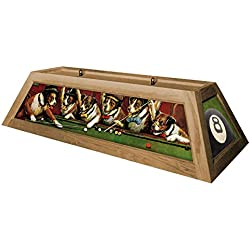 Dogs Playing Pool Hanging Pool Table Light - Oak