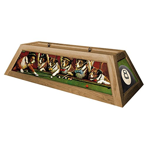 Dogs Playing Pool Hanging Pool Table Light   Oak