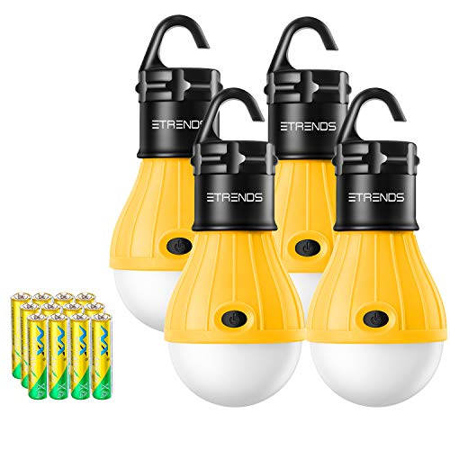 - E-TRENDS 2 Pack/4 Pack Compact LED Lantern Tent Camp Light Bulb for Camping Hiking Fishing Emergency Lights, Battery Powered Portable Lamp (Yellow, 4 Count)
