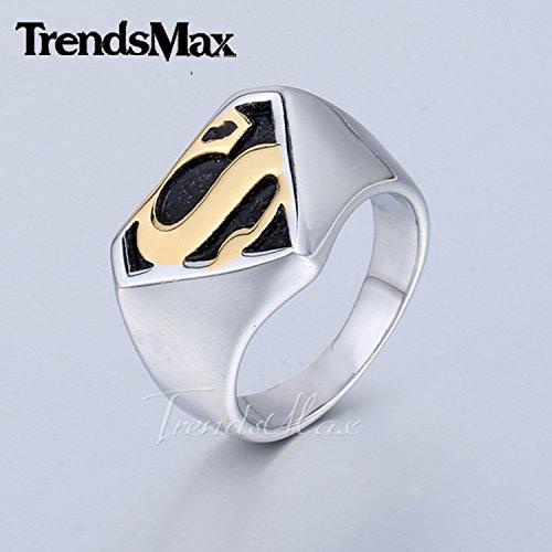 Superman Man Of Steel Costume Replica For Sale (Cherryn Jewelry Mens Boys Jewelry Superman Return Hero 316L Stainless Steel Ring HRM61)