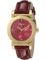 Salvatore Ferragamo Womens LADY Quartz Stainless Steel and Leather Casual Watch, Color:Red (Model: FP1780016)