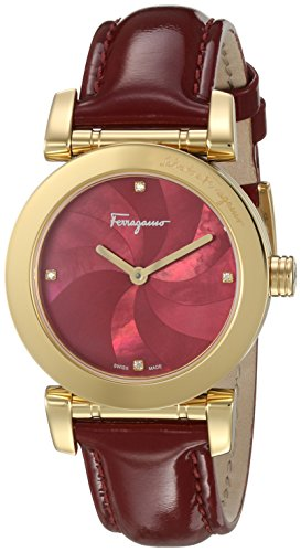 Salvatore-Ferragamo-Womens-LADY-Quartz-Stainless-Steel-and-Leather-Casual-Watch-ColorRed-Model-FP1780016