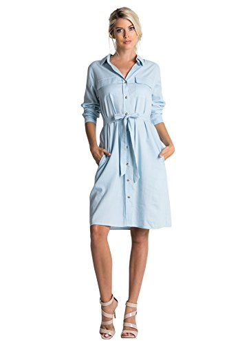 Dress Chambray Denim - Tabeez Women's Signature Long Sleeve Button-Down Belted Denim Dress (Small, Chambray Blue)