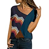 Blouses for Women Summer Asymmetric Neck Short Sleeve Shirts Geometric Stripe Casual T-Shirt Tops (XXXXL, Navy)