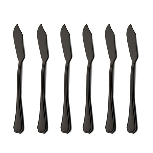 6 Piece Black Butter Spreader Knife Set 6.8 inch 18/0 Stainless Steel Cheese Spreader Knives Sets Silverware Sets Service for 6 Mirror Polished Dishwasher Safe for Kitchen Home by (Butter Spreader Solid Handle)