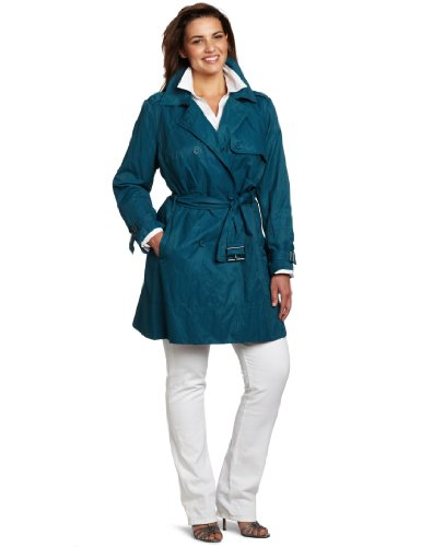 Kenneth Cole New York Women's Plus-Size Metal Flared Trench Coat