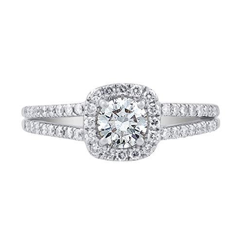 Diamond Split Shank Ring - IGI Certified 1.00 Carat Natural Diamond Ring 14K White Gold (I-J Color, I1-I2 Clarity) Split Shank Diamond Engagement Ring for Women, US Size 7.25