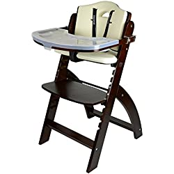 Abiie Beyond Wooden High Chair With Tray. The Perfect Adjustable Baby Highchair Solution For Your Babies and Toddlers or as a Dining Chair. (6 Months up to 250 Lb) (Mahogany Wood - Cream Cushion)
