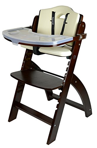 Abiie Beyond Wooden High Chair With Tray. The Perfect Adjustable Baby Highchair Solution For Your Babies and Toddlers or as a Dining Chair. (6 Months up to 250 Lb) (Mahogany Wood - Cream Cushion) by Abiie