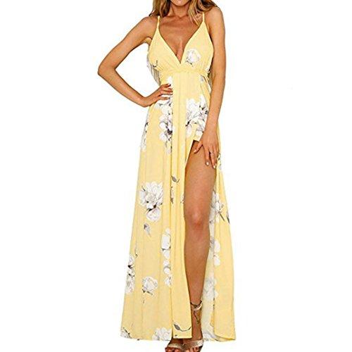Women Strap Print Sexy Dress, Balakie Ladies Flower Sleeveless Evening Party Long Dresses Beach Sundress (S, Yellow)