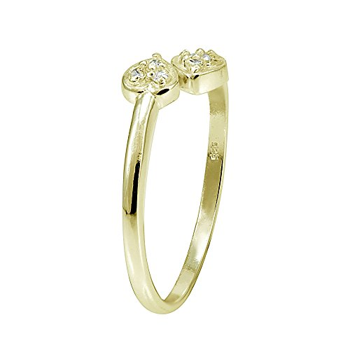 Hoops & Loops Sterling Silver Flash Plated Gold Cubic Zirconia Double Heart Toe Ring by Hoops & Loops (Image #1)'