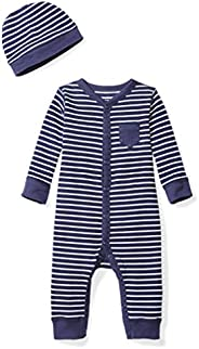 Moon and Back Baby Organic Snap-Front One-Piece Coverall with Cap Set, Navy Sea, 0-3 Months
