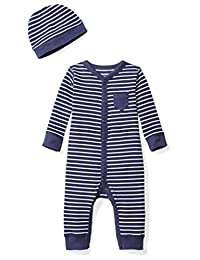 Moon and Back Baby Organic Snap-Front One-Piece Coverall with Cap Set, Navy Sea, 6-9 Months