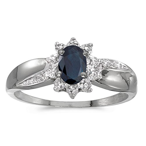 0.39 Carat (ctw) 14k White Gold Oval Blue Sapphire and Diamond Solitaire & Halo Fashion Swirl Cocktail Ring (6 x 4 MM) - Size 4.5 ()