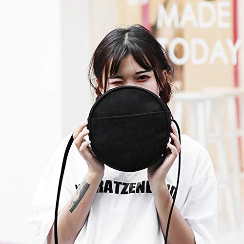 PU Messenger Bags Widewing Shoulder Crossbody bags Shoulder Leather Women women for Circle Round Casual Black Bags x6UY6gOqw