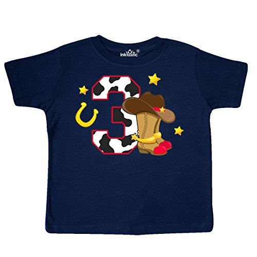 inktastic Cowboy Birthday Three Years Old with Toddler T-Shirt 3T Navy Blue - Old West Cowboy Clothing