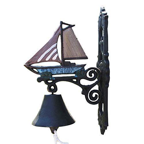 Sungmor Heavy Duty Cast Iron Hanging Wall Bell,Hand-Operated Decorative Door Bell,Wall Mounted Sailboat Bell,Mediterranean Style Garden & Home & Store & Outdoor Decorations