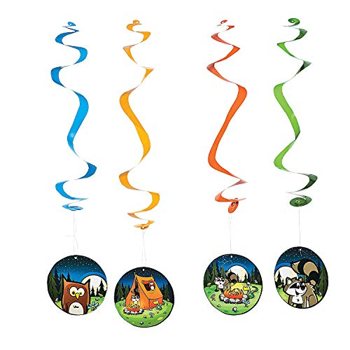 (Fun Express - Camp Adventure Hanging Swirls for Birthday - Party Decor - Hanging Decor - Spirals & Swirls - Birthday - 12 Pieces)