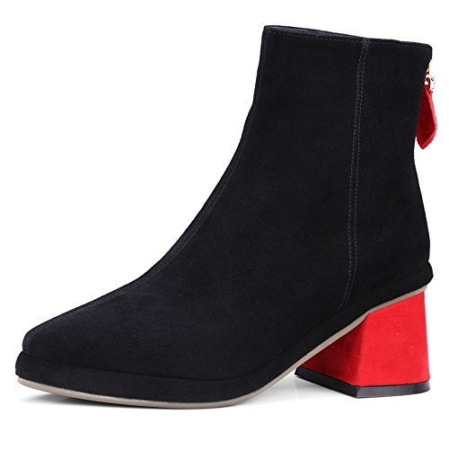 Heel Handmade Pointed red colorful Suede Toe Leather Fashion Chunky Dress Ankle Black Nine Boots Seven Women's Cx0qzwqBT