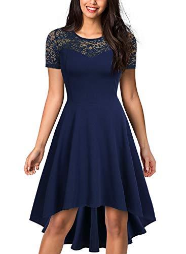 Miusol Women's Retro 1950'S Style Floral Lace Evening Party Dress,Medium,Navy Blue