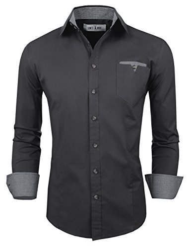 Tom's Ware Mens Classic Slim Fit Contrast Inner Long Sleeve Dress Shirts TWNMS310S-8219-CHARCOAL-US L