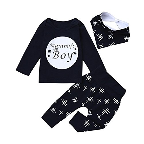 Jchen TM Newborn Infant Baby Boys 3pcs Letter Print Long Sleeve Set Tops+Pants+Bibs Outfits For 0-24 Months (Age: 6-12 Months)