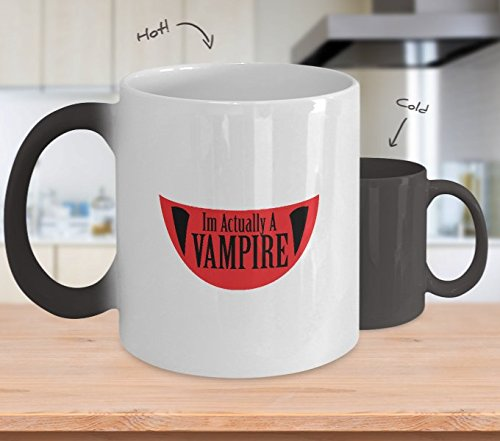 Color Changing Mug Funny Im Actually A Vampire Halloween Meme Funny Heat Colour Change Mug Gift ()