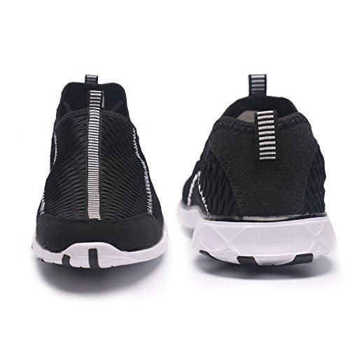 Wasser-Schuhe der Frauen maschen schnell trocknendes Aqua-leichtes athletisches Sport Breathable Beleg-auf Schuhen im Freien Schwarz