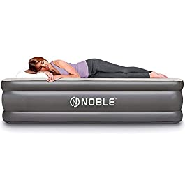 Noble Queen Size Luxury Upgraded Double HIGH Raised Air Mattress, Inflatable Airbed with Built-in Pump Elevated Raised Air Mattress Quilt Top, Coil Beam Technology