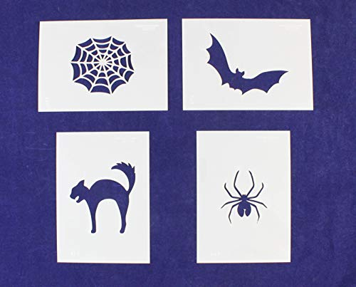 Halloween Stencil - 4 Piece Set (Black Cat, Bat, Cobweb/Spider Web, Spider) - 5