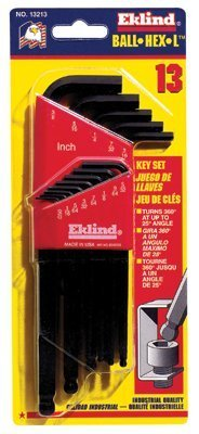 Ball-Hex-L Key Sets, 13 per Set, Hex Ball Tip, Inch (8 Pack)