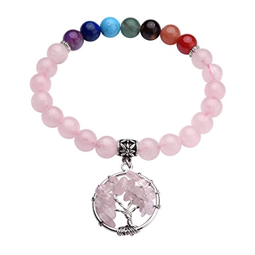 Top Plaza 7 Chakra Healing Stone Beads Stretch Bracelet Natural Rose Quartz Crystals Gemstones Handmade Bracelets with Tree of Life Charm